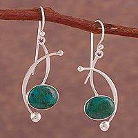 Chrysocolla dangle earrings, 'Crescent Eyes' - Chrysocolla and Sterling Silver Dangle Earrings from Peru