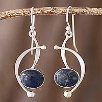 Lapis lazuli dangle earrings, 'Crescent Eyes' - Lapis Lazuli and Sterling Silver Dangle Earrings from Peru
