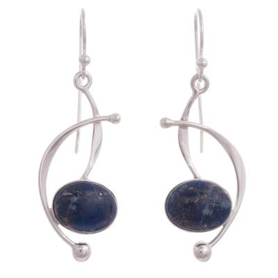 Lapis Lazuli and Sterling Silver Dangle Earrings from Peru