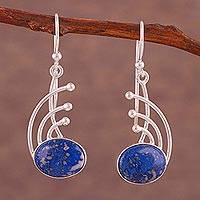 Lapis lazuli dangle earrings, 'Elegant Eyes' - Lapis Lazuli and Sterling Silver Dangle Earrings from Peru