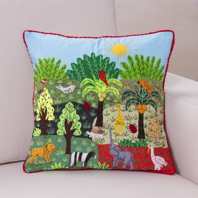 Cotton blend patchwork cushion cover, 'Summer in the Jungle' - Cotton Blend Nature-Themed Patchwork Cushion Cover from Peru