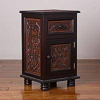 Leather and wood accent table, 'Jungle Empire' - Leather and Wood Table with a Drawer and Door from Peru