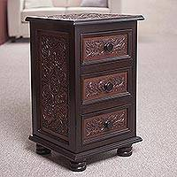 Leather and wood accent table, 'Garden Repose' - Leather and Wood Accent Table with Drawers from Peru