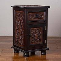 Leather and wood accent table, 'Fantastic Vase' - Leather and Wood Table with a Drawer and Door from Peru