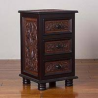 Leather and wood accent table, 'Avian Kingdom' - Leather and Wood Accent Table with Drawers from Peru
