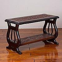 Leather and wood accent table, 'Lyre Garden' - Leather and Wood Accent Table with Floral Motifs from Peru