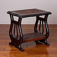Leather and wood side table, 'Vase of Life' - Leather and Wood Side Table with Floral Motifs from Peru