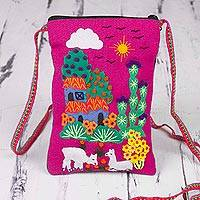 Cotton blend sling handbag, 'Pink Andean Charm' - Peruvian Cotton and Acrylic Sling Handbag with Applique