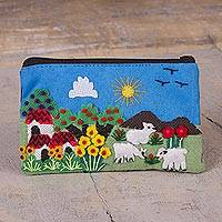 Cotton blend appliqu� coin purse, 'Andes Afternoon' - Handmade Appliqu� Coin Purse with Peruvian Landscape