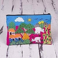Cotton blend cosmetic case, 'Alpaca Afternoon on Pink' - Handmade Appliqué Cosmetic Case with Peruvian Landscape