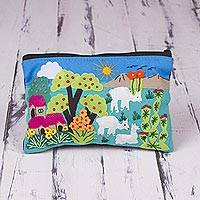 Cotton blend cosmetic case, 'Blue Alpaca Afternoon' - Patchwork Fair Trade Cosmetic Case with Peruvian Landscape