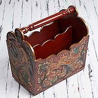 Leather and cedar magazine rack, 'Avian Enchantment' - Leather and Cedar Magazine Rack with Floral Bird Motifs