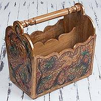Leather and cedar wood magazine rack, 'Fantastic Birds' - Leather and Cedar Magazine Rack with Floral Bird Motifs