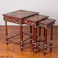 Leather and wood nesting tables, 'Birds of the Golden Paradise' (set of 3) - Leather and Wood Nesting Tables with Bird Motifs (Set of 3)