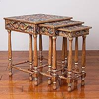 Leather and wood nesting tables, 'Birds of the Floral Paradise' (set of 3) - Three Leather and Wood Accent Tables with Floral Bird Motifs