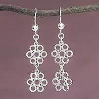 Sterling silver dangle earrings, 'Petals in the Snow' - Handcrafted Peruvian Sterling Silver Floral Earrings