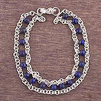 Lapis lazuli beaded bracelet, 'Linked by Love' - Sterling Silver and Lapis Lazuli Beaded Bracelet from Peru