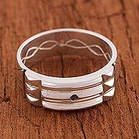 Silver band ring, 'Atlantis Power' - Artisan Crafted 950 Silver Atlantis Band Ring from Peru