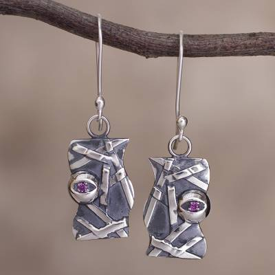 Garnet dangle earrings, 'Profound Image' - Sterling Silver and Rhodolite Dangle Earrings from Peru