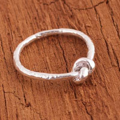 earrings bull big - Sterling Silver Band Ring with Knot Shape from Peru