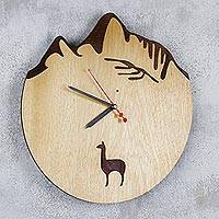 Wood wall clock, 'Machu Picchu Llama' - Wood Wall Clock with Andean Mountains and a Llama from Peru