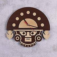 Wood wall clock, 'Tumi Timekeeper' - Handcrafted Wood Wall Clock with Inca Tumi Design from Peru