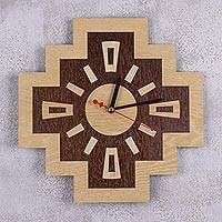 Wood wall clock, 'Chakana Timekeeper' - Handcrafted Inca Cross Wood Wall Clock from Peru