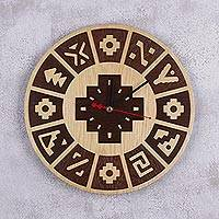 Wood wall clock, 'Inca Year' - Handcrafted Wood Inca Calendar Wall Clock from Peru