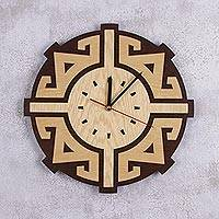 Wood wall clock, 'Sun Door' - Handcrafted Geometric Wood Wall Clock from Peru
