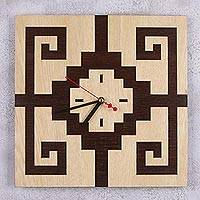 Wood wall clock, 'Geometric Cathedral' - Handcrafted Geometric Square Wood Wall Clock from Peru
