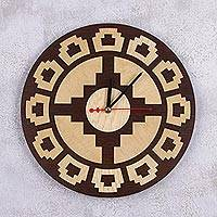 Wood wall clock, 'Sacsaywaman Fort' - Handcrafted Circular Geometric Wood Wall Clock from Peru