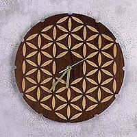 Wood wall clock, 'Petals of Life' - Handcrafted Wood Wall Clock with Floral Designs from Peru