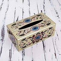 Reverse painted glass tissue box cover, 'Flower Country' - Reverse Painted Glass Floral Tissue Box Cover