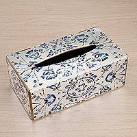 Reverse painted glass tissue box cover, 'Angelic Blue' - Reverse Painted Glass Floral Tissue Box Cover from Peru