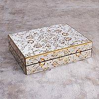 Reverse painted glass decorative box, 'Gold Oasis' - Reverse Painted Glass Decorative Box with Gold Floral Motifs
