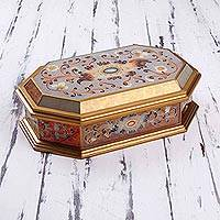 Reverse painted glass decorative box, 'Treasure Shine' - Reverse Painted Glass Decorative Box with Floral Motifs