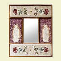 Reverse painted glass wall mirror, 'Guadalupe Flowers' - Reverse Painted Glass Mother Mary Wall Mirror from Peru