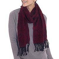 Alpaca blend scarf, 'Ruby Waves' - Alpaca Blend Scarf in Ruby and Black from Peru
