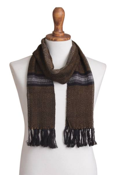 100% alpaca scarf, 'Stoic Stripes' - Handwoven Alpaca Scarf in Caramel and Black from Peru