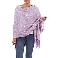 Alpaca Blend shawl, 'Lilac Candy' - Handwoven Fringed Alpaca Blend Shawl in Lilac from Peru