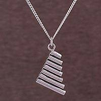 Sterling silver pendant necklace, 'Andean Harmony' - Sterling Silver Pan Flute Pendant Necklace from Peru