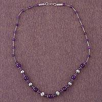 Amethyst beaded necklace, 'Universal Love' - Amethyst and Sterling Silver Beaded Necklace from Peru