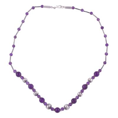 Amethyst and Sterling Silver Beaded Necklace from Peru