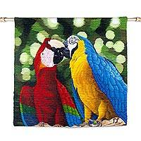 Wool tapestry, 'Paradise Birds in Love' - Andean Artisan Handwoven Wool Tapestry of Macaws