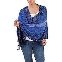 Alpaca blend shawl, 'Blue Grades' - Handwoven Fringed Alpaca Blend Shawl with Blue Stripes