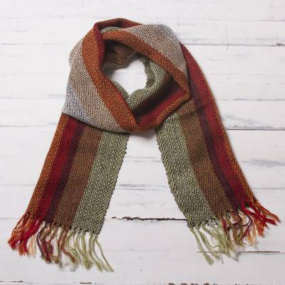 100% alpaca scarf, 'Dream of Colors' - Handwoven 100% Alpaca Scarf with Stripes from Peru