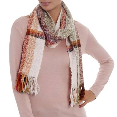 Alpaca blend scarf, 'Colorful Memories' - Handwoven Alpaca Blend Multicolored Scarf from Peru