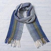 100% alpaca scarf, 'Cornflower Field' - Handwoven Striped Alpaca Scarf in Cornflower and Light Olive