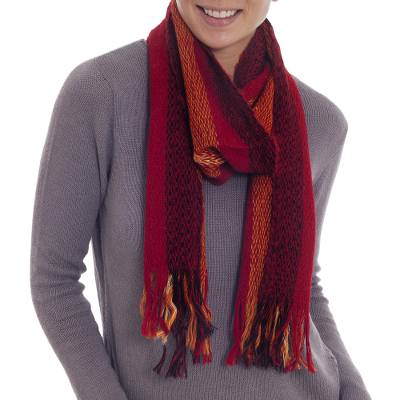 Alpaca blend scarf, 'Fiery Beauty' - Handwoven Alpaca Blend Scarf in Crimson and Amber from Peru