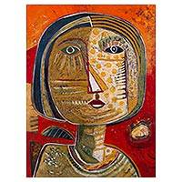 'Brave Woman' - Signed Expressionist Portrait Painting of a Woman from Peru